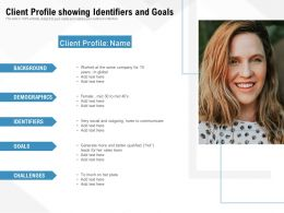 Client Profile Showing Identifiers And Goals