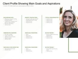 Client Profile Showing Main Goals And Aspirations