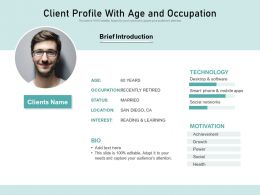 Client Profile With Age And Occupation