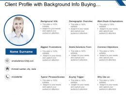 Client Profile With Background Info Buying Trigger And Common Objections