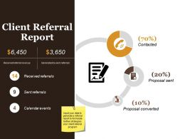 Client Referral Report Powerpoint Presentation Templates
