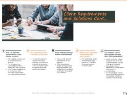 Client Requirements And Solutions Cont Ppt Powerpoint Presentation Infographics Format Ideas