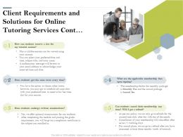 Client Requirements And Solutions For Online Tutoring Services Cont Ppt Powerpoint Presentation