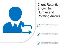 Client Retention Shown By Human And Rotating Arrows