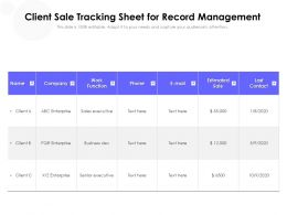 Client Sale Tracking Sheet For Record Management