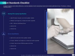 Client Standards Checklist Ppt Powerpoint Presentation Model Design Ideas