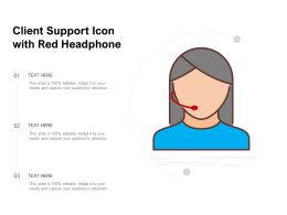 Client Support Icon With Red Headphone