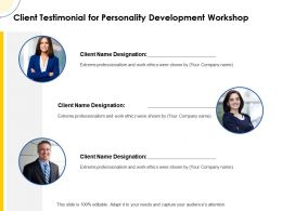 Client Testimonial For Personality Development Workshop Ppt Powerpoint Guide