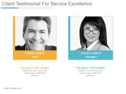 Client Testimonial For Service Excellence Powerpoint Slide Information