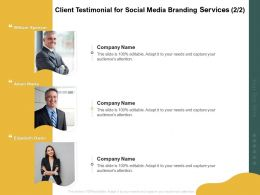 Client Testimonial For Social Media Branding Services Ppt Powerpoint Outline