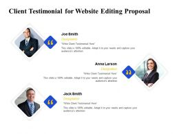 Client Testimonial For Website Editing Proposal Ppt Powerpoint Presentation Outline