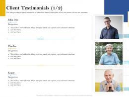 Client Testimonials Designation Retirement Analysis Ppt Infographic Template Vector