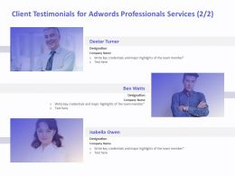 Client Testimonials For AdWords Professionals Services R271 Ppt File Slides