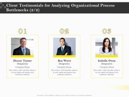 Client Testimonials For Analyzing Organizational Process Bottlenecks R111 Ppt Demonstration