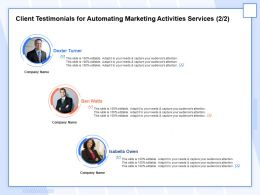 Client Testimonials For Automating Marketing Activities Services R113 Ppt Layouts