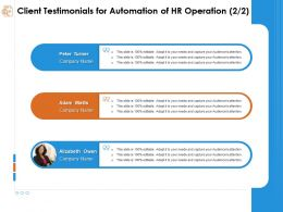 Client Testimonials For Automation Of Hr Operation Editable Ppt Powerpoint Presentation Ideas
