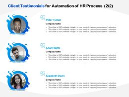 Client Testimonials For Automation Of HR Process Ppt Powerpoint Icon Clipart