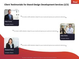 Client Testimonials For Brand Design Development Services Ppt Images