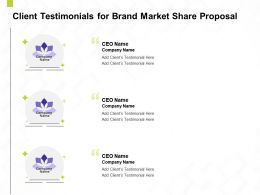 Client Testimonials For Brand Market Share Proposal Ppt Powerpoint Backgrounds