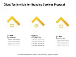 Client Testimonials For Branding Services Proposal Ppt Powerpoint Ideas Template