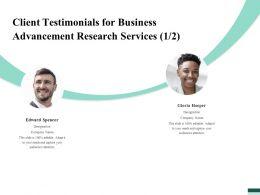 Client Testimonials For Business Advancement Research Services R167 Ppt File