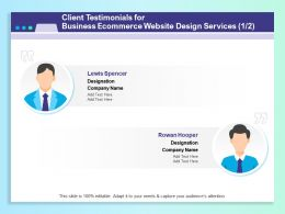 Client Testimonials For Business Ecommerce Website Design Services R176 Ppt Example