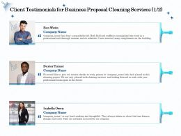 Client Testimonials For Business Proposal Cleaning Services R298 Ppt File Display