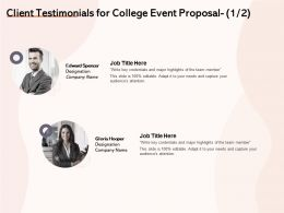 Client Testimonials For College Event Proposal L1476 Ppt Powerpoint Infographics