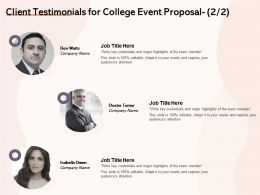 Client Testimonials For College Event Proposal L1477 Ppt Powerpoint Presentation Rules