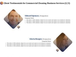 Client Testimonials For Commercial Cleaning Business Services Ppt Ideas