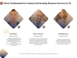 Client Testimonials For Commercial Cleaning Business Services R327 Ppt Demonstration