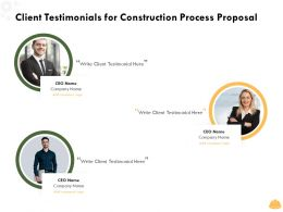 Client Testimonials For Construction Process Proposal Ppt Powerpoint Presentation Model
