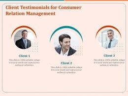 Client Testimonials For Consumer Relation Management Ppt Icon