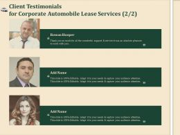 Client Testimonials For Corporate Automobile Lease Services Ppt Clipart