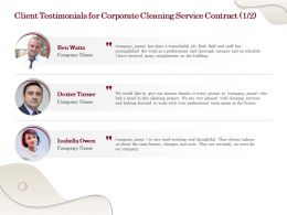 Client Testimonials For Corporate Cleaning Service Contract L1764 Ppt Powerpoint Icon