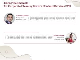 Client Testimonials For Corporate Cleaning Service Contract Services Ppt Powerpoint Layout