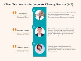 Client Testimonials For Corporate Cleaning Services R208 Ppt Model