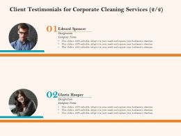 Client Testimonials For Corporate Cleaning Services R209 Ppt File Brochure