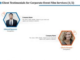 Client Testimonials For Corporate Event Film Services R356 Ppt File Formats