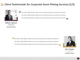 Client Testimonials For Corporate Event Filming Services R118 Ppt Slides