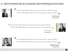 Client Testimonials For Corporate Event Filming Services R119 Ppt Example File