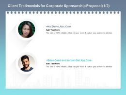 Client Testimonials For Corporate Sponsorship Proposal L1771 Ppt Powerpoint Pictures