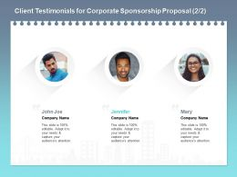 Client Testimonials For Corporate Sponsorship Proposal L1772 Ppt Powerpoint Portfolio