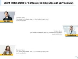 Client Testimonials For Corporate Training Sessions Services R121 Ppt Outline