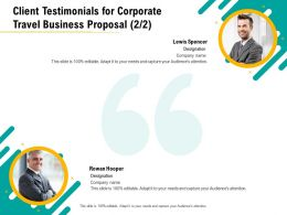 Client Testimonials For Corporate Travel Business Proposal Capture Ppt File Brochure
