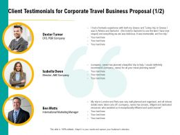 Client Testimonials For Corporate Travel Business Proposal Planning Ppt File Display