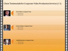 Client Testimonials For Corporate Video Production Services R244 Ppt Example File