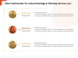 Client Testimonials For Cultural Heritage And Planning Services R329 Ppt Icon