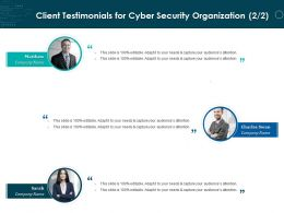Client Testimonials For Cyber Security Organization R82 Ppt Powerpoint Presentation