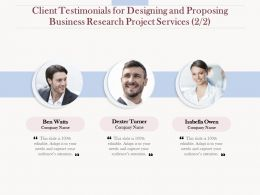 Client Testimonials For Designing And Proposing Business Research Project Services L1611 Ppt Tips